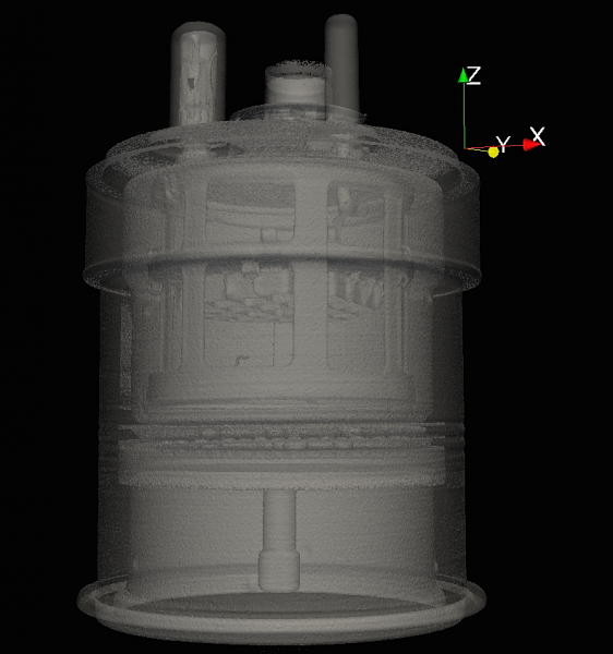 Reconstruction of vacuum tube from the first test measurements